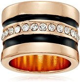 "GUESS Basic"" Jet and Gold Wide Band with Enamel and Stones Ring, Size 8"