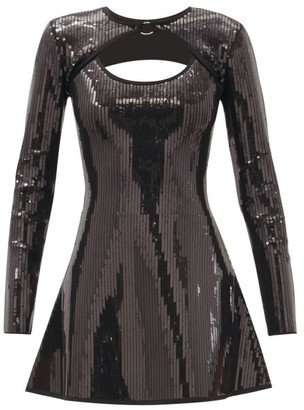 David Koma Flared Sequinned Mini Dress - Black