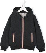 Moncler striped panel zip-up hoodie - kids - Cotton - 4 yrs