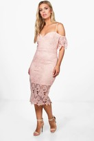 boohoo Plus Tanya Corded Lace Midi Dress