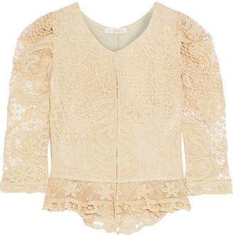 LoveShackFancy Brenna Crocheted Lace Peplum Jacket