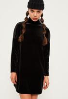 Missguided Petite Exclusive Black Oversized Velvet High Neck Dress