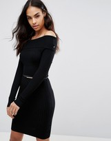 Lipsy Ribbed Bardot Sweater Dress With Button Detail