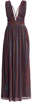Jonathan Simkhai Rainbow Pleats Lurex Sleeveless Gown