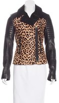 A.L.C. Leather-Trimmed Leopard Print Jacket