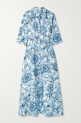 Erdem Kasia Floral-print Linen Midi Dress - Sky blue