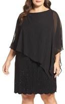 Xscape Evenings Chiffon Overlay Beaded Jersey Dress (Plus Size)