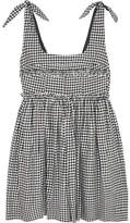 ALEXACHUNG Ballerina Gingham Crepe Mini Dress - Black