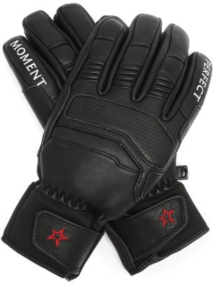 Perfect Moment Logo-embroidered Leather Ski Gloves - Black