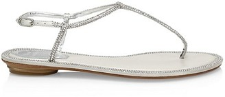 Rene Caovilla Diana Crystal-Embellished Leather T-Strap Sandals