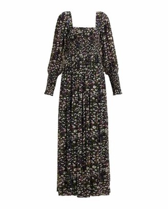 Ganni Shirred Floral Georgette Maxi Dress - 38