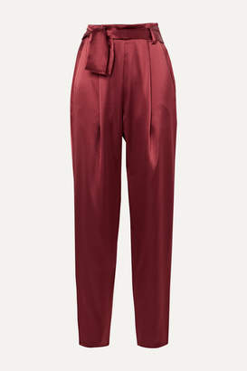 Sally LaPointe Belted Satin Tapered Pants - Claret