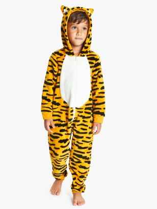 John Lewis & Partners Children's Tiger Fleece Onesie, Orange