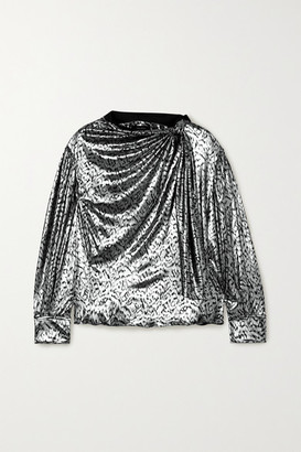 Isabel Marant Lavaliere Tie-detailed Lame Blouse - Silver