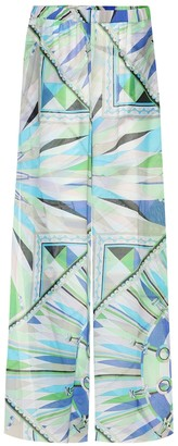 Emilio Pucci Beach Cotton and silk wide-leg pants