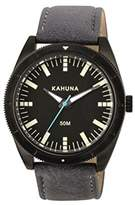 Kahuna Men's Quartz Watch with Black Dial Analogue Display and Grey PU Strap KUS-0120G
