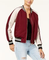 Hippie Rose Juniors' Cropped Varsity Bomber Jacket