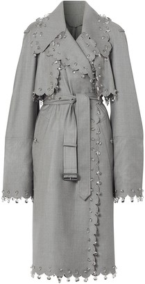 Burberry Crystal Ring-Pierced Reconstructed Trench Coat