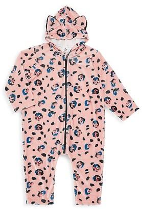 Noé & Zoë Berlin Baby Girl's Faux Fur-Trim Leopard Print Velvet Coverall