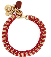 Brooks Brothers Metal Link Bracelet with Woven Ribbon