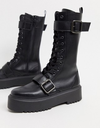 ASOS DESIGN Ashford chunky buckle boots in black