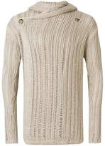 Rick Owens wrap front open knit hooded cardigan