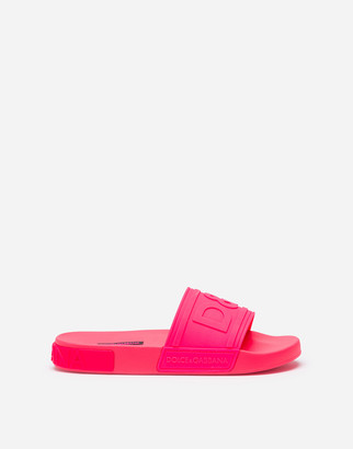 Dolce & Gabbana Fluorescent Rubber Beachwear Sliders With Logo