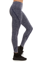 Heather Navy Seamless Ribbed-Waist Compression Leggings