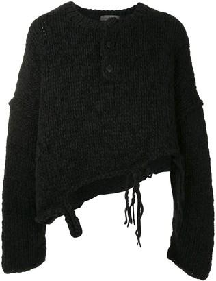 Yohji Yamamoto Destroyed Henley sweater