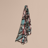 Burberry Painterly Print Check Modal, Silk and Cashmere Scarf