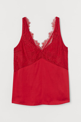 H&M Lace-detail Satin Top - Red
