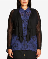 City Chic Trendy Plus Size Cropped Illusion Cardigan