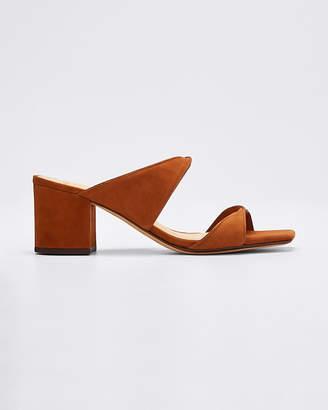 Alexandre Birman Miki Suede/Leather Twist Slide Sandals