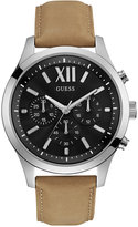 GUESS Men's Chronograph Tan Leather Strap Watch 46mm U0789G1