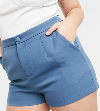 In The Style Plus x Shaughna tailored shorts in blue