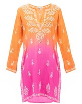 Juliet Dunn Embroidered Silk Kaftan - Womens - Orange Multi