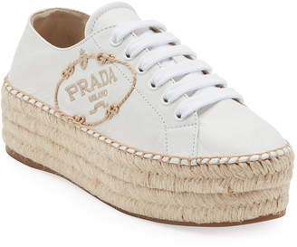 Prada Leather Logo Platform Espadrille