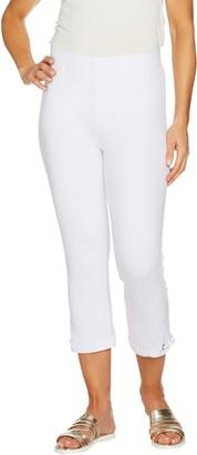 Susan Graver Weekend Cotton Spandex Capri Leggings w/ Grommets