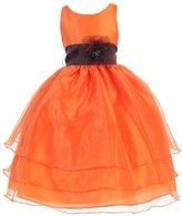 Calla Collection USA Calla Collection Big Girls Orange Flower Junior Bridesmaid Dress