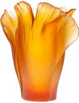 Daum Medium Ginko Vase, Amber