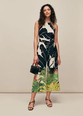 Jungle Leaves Silk Jumpsuit