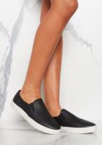 Missy Empire Zoelle Black White Sole Croc Slip On Pumps
