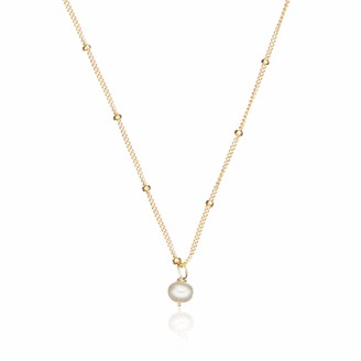 Gold Single Pearl Necklace On Satellite Chain