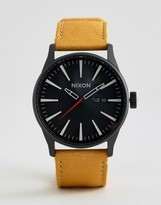 Nixon Sentry Leather Watch In Tan