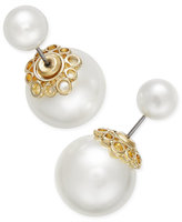 Charter Club Gold-Tone Imitation Pearl Front and Back Earrings, Only at Macy's
