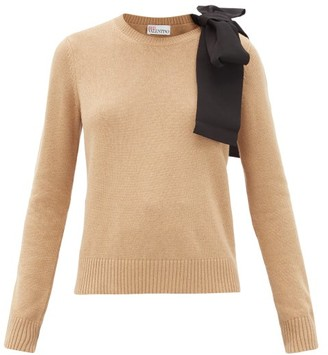 RED Valentino Grosgrain-bow Cotton-blend Sweater - Camel