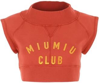 Miu Miu Logo Printed Crop Top