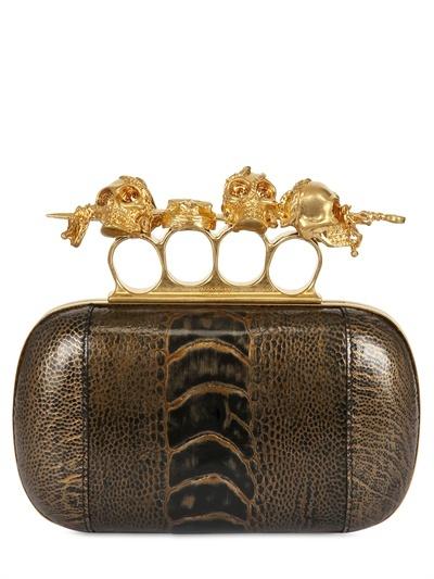 Alexander McQueen Knuckle Box Gold Ostrich Clutch
