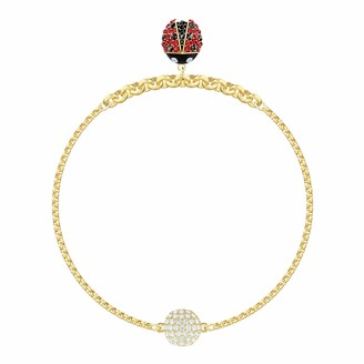 Swarovski Women's Ladybug Strand Bracelet Brilliant White Crystals with Gold-tone Plated Metal Magnetic Closure from the Remix Collection