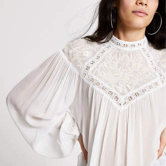 River Island Cream embroidered high neck blouse